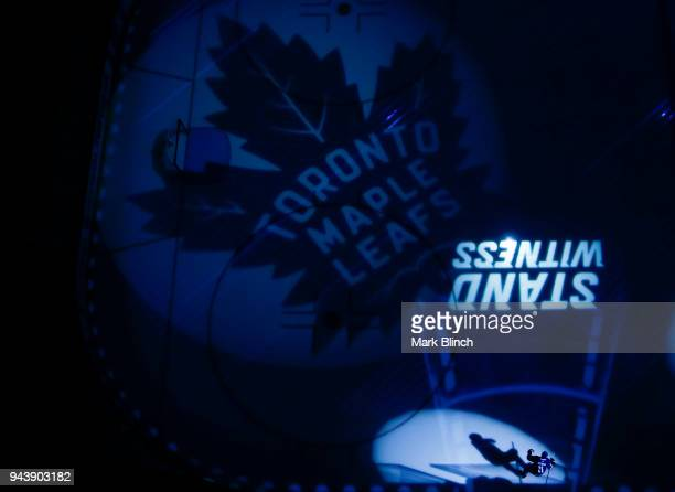 Zach Hyman of the Toronto Maple Leafs takes the ice against the the Montreal Canadiens at the Air Canada Centre on April 7 2018 in Toronto Ontario...