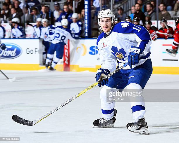 Zach Hyman of the Toronto Marlies watches the play develop against the Albany Devils during AHL playoff game action May 6 2016 at Ricoh Coliseum in...