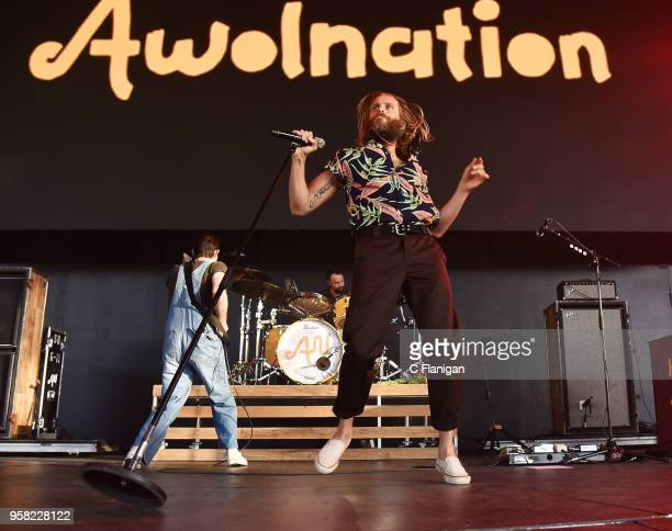 Zach Irons Aaron Bruno and Isaac Carpenter of Awolnation perform during the Live 105's BFD at Concord Pavilion on May 13 2018 in Concord California