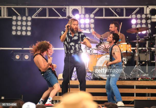 Zach Irons Aaron Bruno Isaac Carpenter and Marc Walloch of AWOLNATION perform onstage at KROQ Weenie Roast 2018 at StubHub Center on May 12 2018 in...