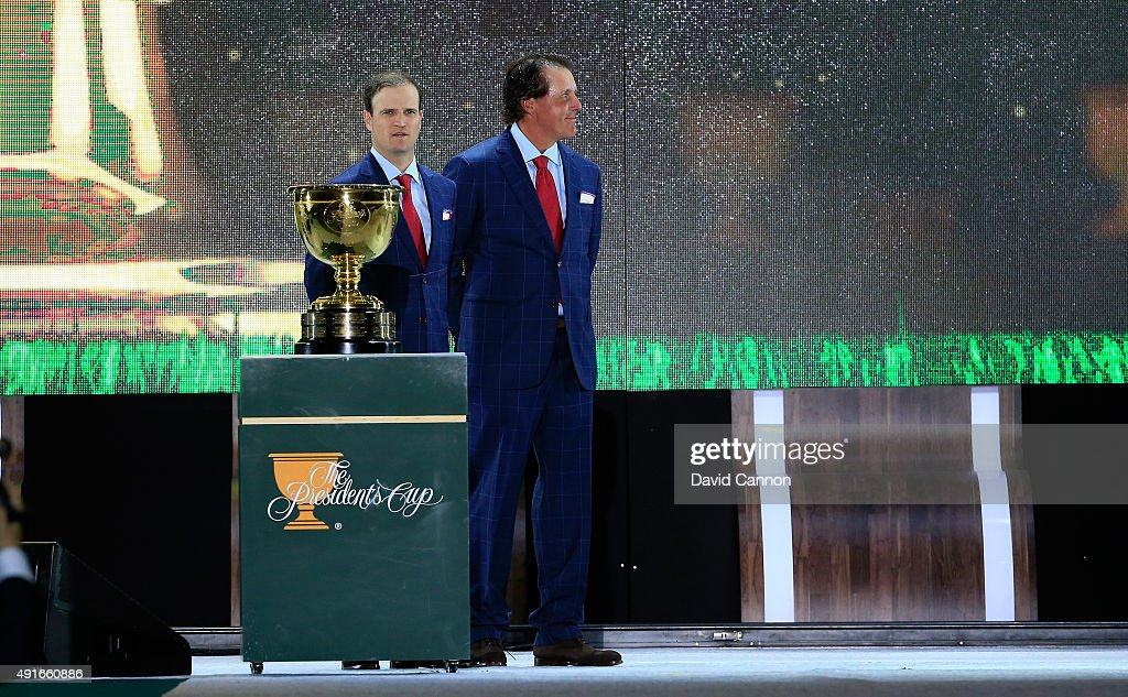 Zach Johnson and Phil Mickelson of the United States team on stage during the opening ceremony of the 2015 Presidents Cup at the Convensia Ceremony Hall on October 7, 2015 in Incheon City, South Korea.
