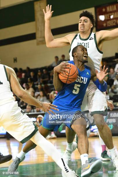 Zach Johnson guard Florida Gulf Coast University Eagles challenges Avery Diggs center USC Upstate Spartans at the Eddie and Ann Payne Arena at the GB...