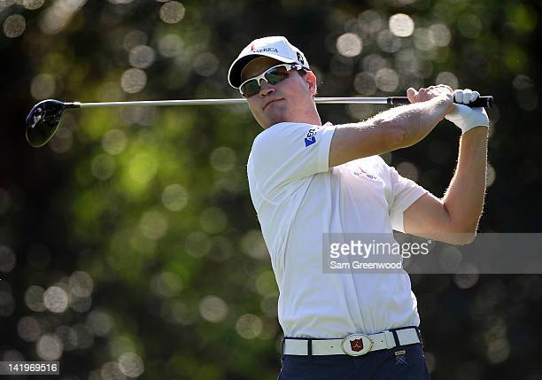 Zach Johnson hits a shot during the first round of the Transitions Championship at Innisbrook Resort and Golf Club on March 15 2012 in Palm Harbor...