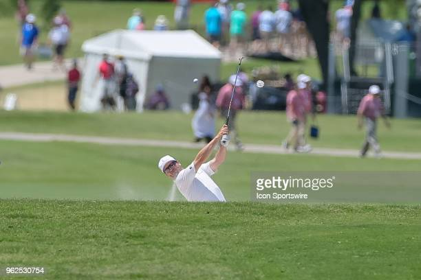 Zach Johnson hits from the fairway sand trap on during the second round of the Fort Worth Invitational on May 25 2018 at Colonial Country Club in...