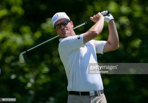 Zach Johnson hits his tee shot on during the second round of the Fort Worth Invitational on May 25 2018 at Colonial Country Club in Fort Worth TX