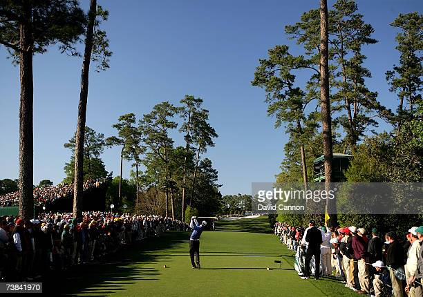 Zach Johnson hits his tee shot on the 18th hole during the final round of The Masters at the Augusta National Golf Club on April 8 2007 in Augusta...