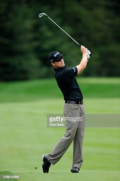 Zach Johnson hits to the ninth green during the first round of the Deutsche Bank Championship at TPC Boston on September 3, 2010 in Norton,...