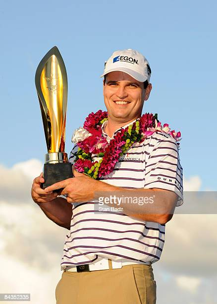 Zach Johnson holds the winner's trophy after the final round of the Sony Open in Hawaii held at Waialae Country Club on January 18 2009 in Honolulu...