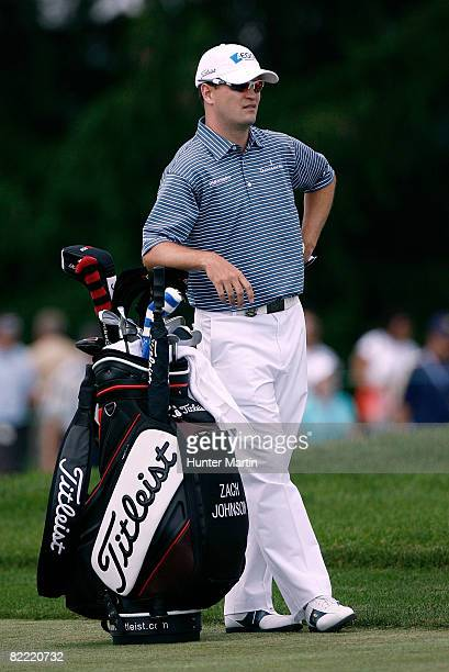 Zach Johnson leans on his bag on the second fairway during round two of the 90th PGA Championship at Oakland Hills Country Club on August 8 2008 in...