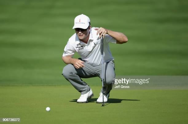 Zach Johnson lines up a putt on the 16th hole during the first round of the CareerBuilder Challenge at La Quinta Country Club on January 18 2018 in...