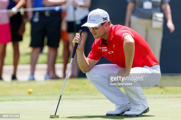 Zach Johnson lines up his putt on during the second round of the Dean Deluca Invitational on May 26 2017 at Colonial Country Club in Fort Worth TX