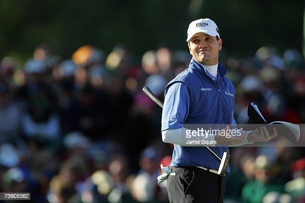 Zach Johnson looks on after holing out on the 18th green during the final round of the 2007 Masters Tournament at Augusta National Golf Club on April...