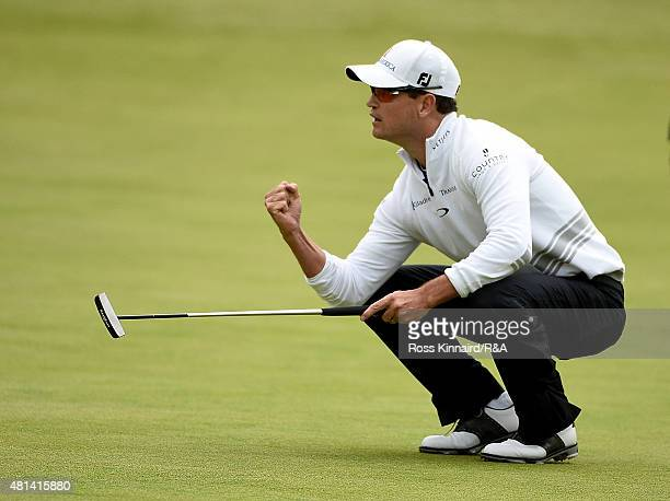 Zach Johnson of the United States celebrates holing a birdie putt on the 18th hole during the final round of the 144th Open Championship at The Old...