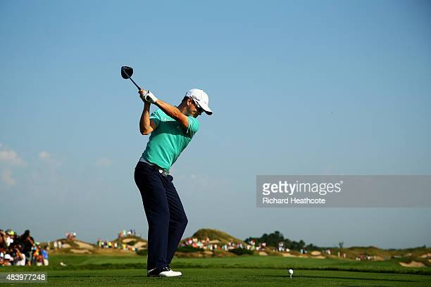 Zach Johnson of the United States hits his tee shot on the 11th hole during the second round of the 2015 PGA Championship at Whistling Straits on...
