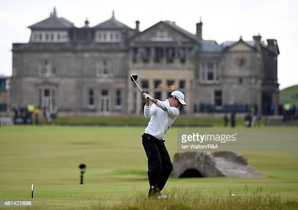 Zach Johnson of the United States hits his tee shot on the 18th hole during the play off of the 144th Open Championship at The Old Course on July 20...