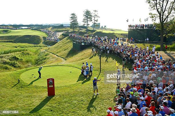 Zach Johnson of the United States hits his tee shot on the tenth hole during the second round of the 2015 PGA Championship at Whistling Straits on...