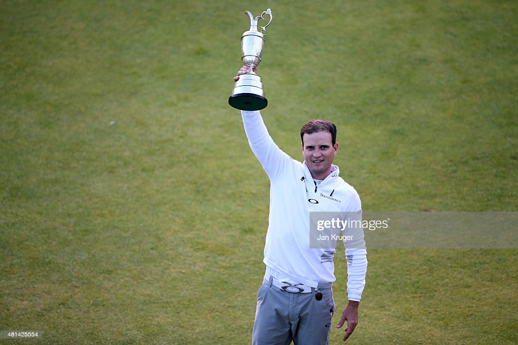 Zach Johnson of the United States holds the Claret Jug after winning the 144th Open Championship at The Old Course during a 4-hole playoff on July 20, 2015 in St Andrews, Scotland.