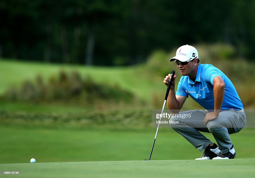 Zach Johnson of the United States lines up for a putt on the fourteenth green during round one of the Deutsche Bank Championship at TPC Boston on September 4, 2015 in Norton, Massachusetts.