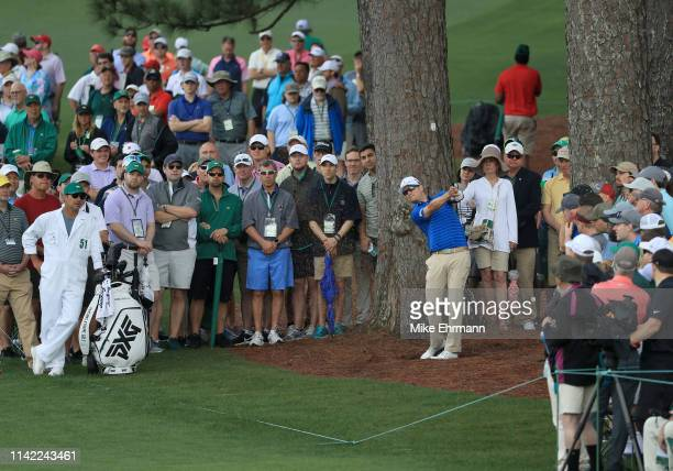 Zach Johnson of the United States plays a shot on the second hole during the second round of the Masters at Augusta National Golf Club on April 12...