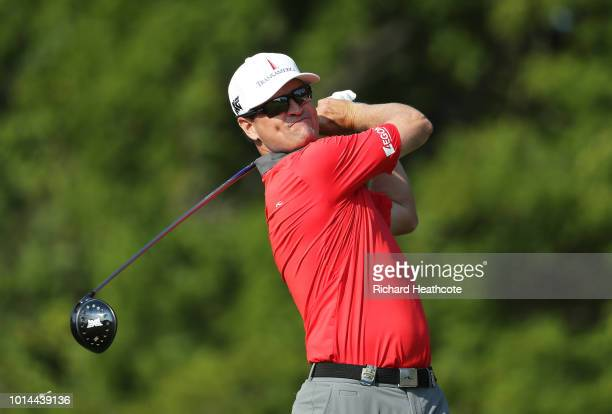 Zach Johnson of the United States plays his shot from the 12th tee during the second round of the 2018 PGA Championship at Bellerive Country Club on...