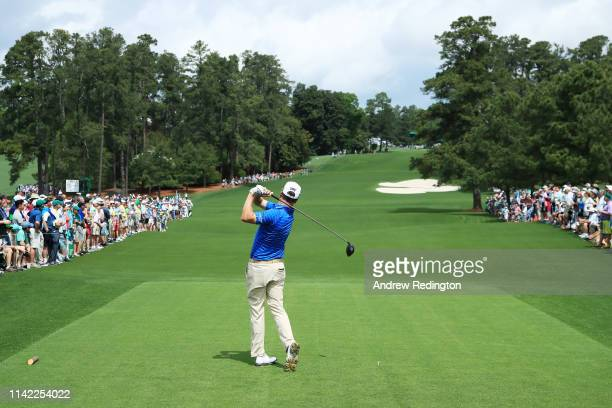 Zach Johnson of the United States plays his shot from the eighth tee during the second round of the Masters at Augusta National Golf Club on April 12...