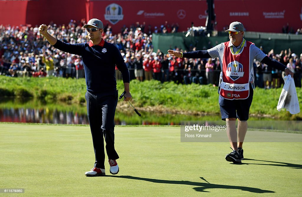 Zach Johnson of the United States reacts after making a putt on the 16th green to win the match during morning foursome matches of the 2016 Ryder Cup at Hazeltine National Golf Club on September 30, 2016 in Chaska, Minnesota.