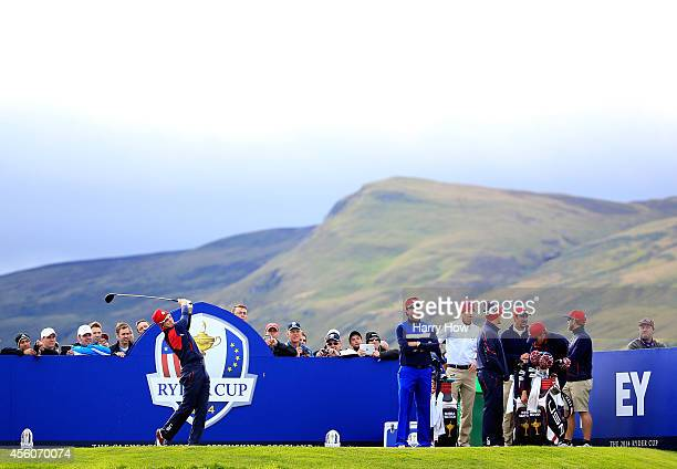 Zach Johnson of the United States tees off during practice ahead of the 2014 Ryder Cup on the PGA Centenary course at the Gleneagles Hotel on...