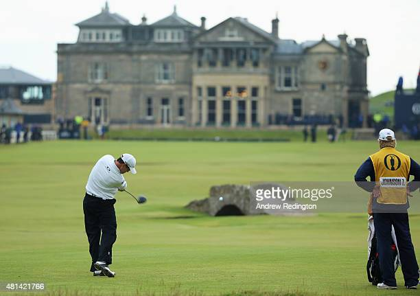 Zach Johnson of the United States tees off on the 18th hole in the playoff during the final round of the 144th Open Championship at The Old Course on...