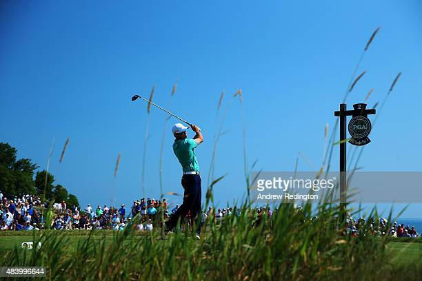 Zach Johnson of the United States watches his tee shot on the second hole during the second round of the 2015 PGA Championship at Whistling Straits...