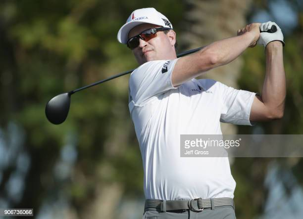 Zach Johnson plays his shot from the 17th tee during the first round of the CareerBuilder Challenge at La Quinta Country Club on January 18 2018 in...