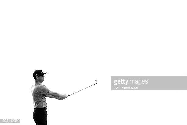 Zach Johnson plays his shot from the 17th tee during the second round of the Sony Open In Hawaii at Waialae Country Club on January 15 2016 in...