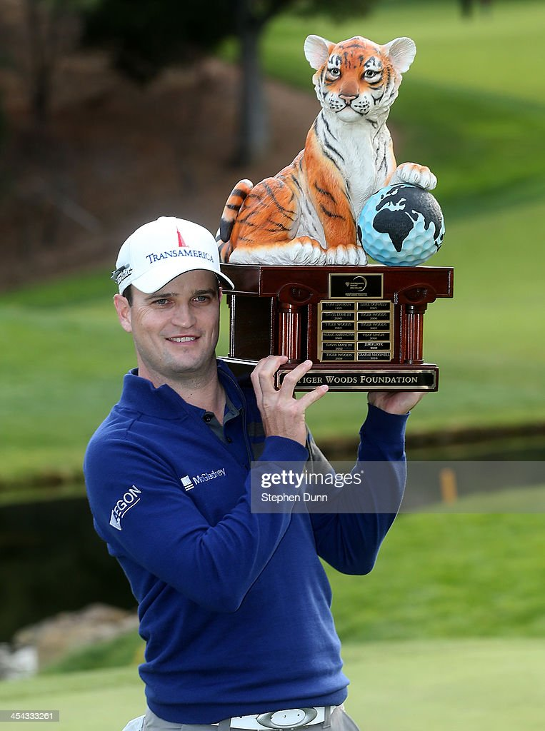 Zach Johnson poses with the trophy after the final round of the Northwestern Mutual World Challenge at Sherwood Country Club on December 8, 2013 in Thousand Oaks, California.