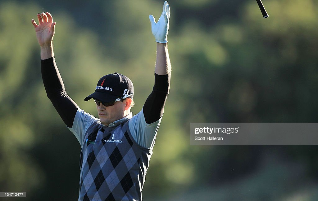 Zach Johnson reacts after holing out for eagle on the 18th hole during the third round of the Chevron World Challenge at Sherwood Country Club on December 3, 2011 in Thousand Oaks, California.