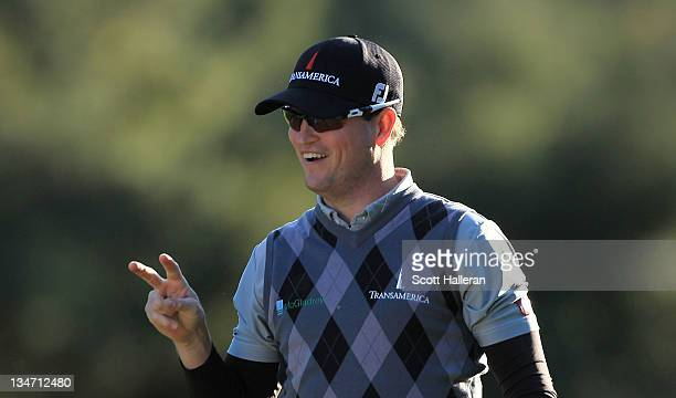Zach Johnson reacts after holing out for eagle on the 18th hole during the third round of the Chevron World Challenge at Sherwood Country Club on...