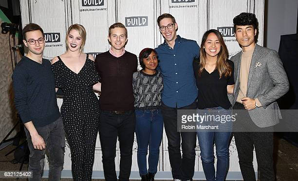 Zach Kornfeld Kelsey Darragh Ned Fulmer Quinta Brunson Keith Habersberger Ashly Perez and Eugene Lee Yang attend Build Series Presents Buzzfeed...