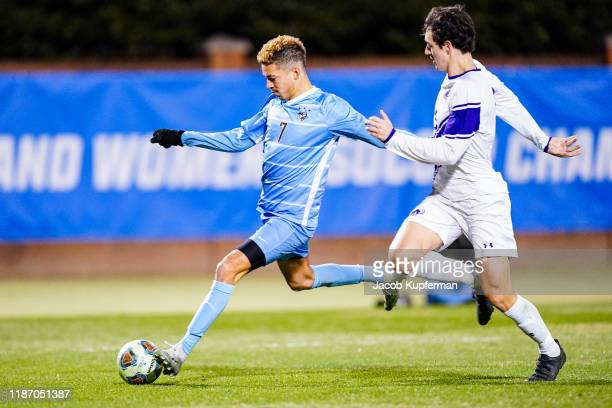 Zach Lane of Tufts Jumbos shoots the ball during the Division III Men's Soccer Championship held at UNCG Soccer Stadium on December 7 2019 in...