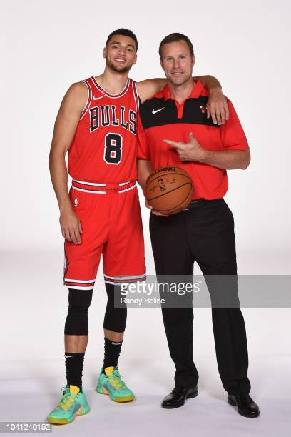 Zach LaVine and Fred Hoiberg of the Chicago Bulls pose for a portrait during media day at the United Center in Chicago, Illinois on September 24,...
