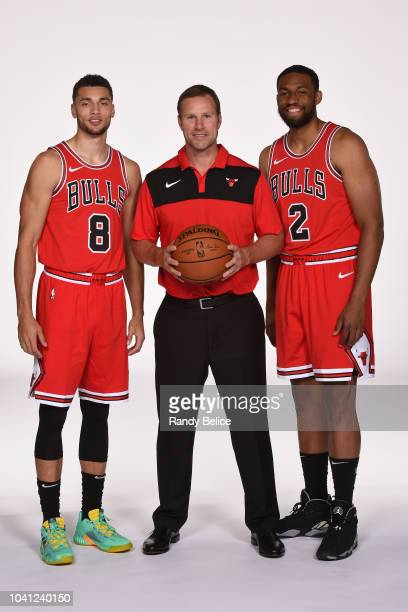 Zach LaVine Fred Hoiberg and Jabari Parker of the Chicago Bulls pose for a portrait during media day at the United Center in Chicago Illinois on...