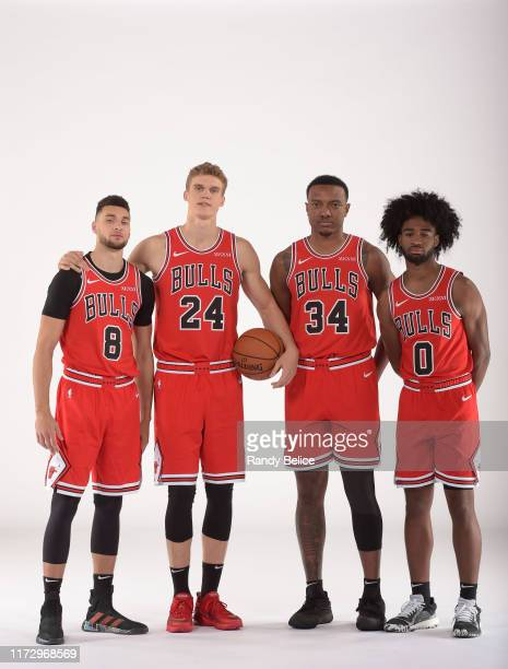 Zach LaVine Lauri Markkanen Wendell Carter Jr #34 and Coby White of the Chicago Bulls pose for a portrait during 2019 NBA Media Day on September 30...