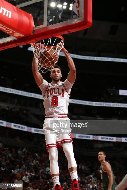 Zach LaVine of Chicago Bulls dunks the ball against the Milwaukee Bucks on October 7 2019 at the United Center in Chicago Illinois NOTE TO USER User...