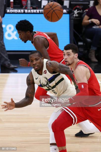 Zach LaVine of Chicago Bulls in action against Eric Bledsoe during the NBA basketball match between Chicago Bulls and Milwaukee Bucks at the United...