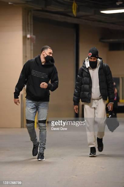 Zach LaVine of the Chicago Bulls and Garrett Temple of the Chicago Bulls arrive prior to a game against the Philadelphia 76ers on February 19, 2021...