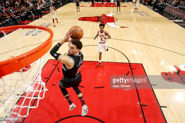 Zach LaVine of the Chicago Bulls attacks the basket during the game against the Cleveland Cavaliers on November 10 2018 at the United Center in...