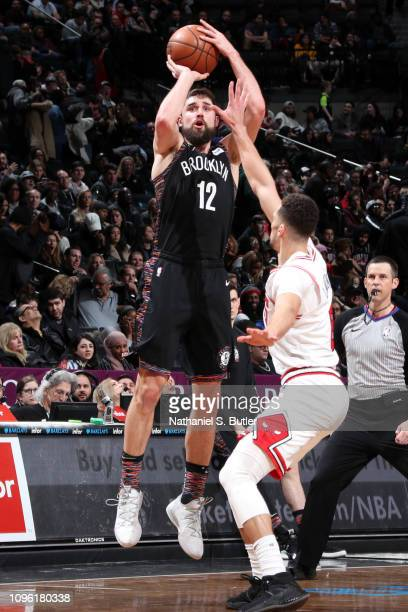 Zach LaVine of the Chicago Bulls blocks a shot against Joe Harris of the Brooklyn Nets on February 8 2019 at Barclays Center in Brooklyn New York...