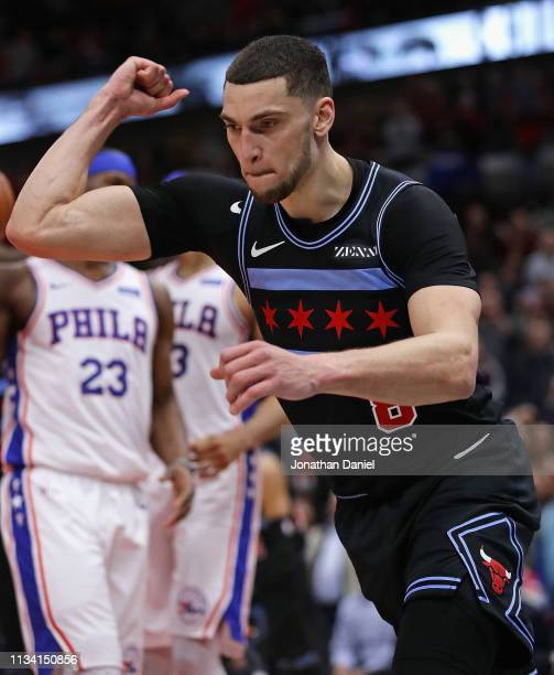 Zach LaVine of the Chicago Bulls celebrates after hitting the gamewinning shot against the Philadelphia 76ers at the United Center on March 06 2019...