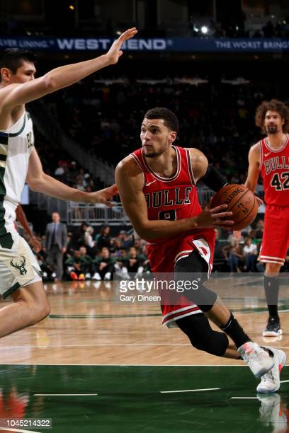 Zach LaVine of the Chicago Bulls drives to the basket against the Milwaukee Bucks during a preseason game on October 3 2018 at Fiserv Forum in...