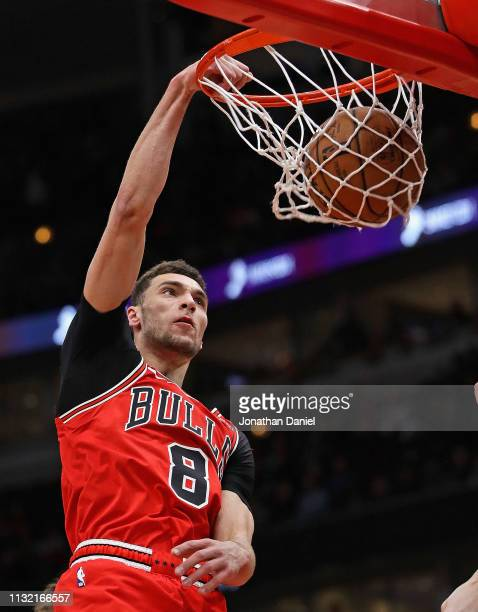 Zach LaVine of the Chicago Bulls dunks against the Milwaukee Bucks at the United Center on February 25 2019 in Chicago Illinois NOTE TO USER User...