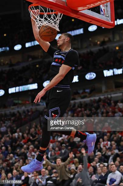Zach LaVine of the Chicago Bulls dunks against the Philadelphia 76ers on his way to a gamehigh 39 points at the United Center on March 06 2019 in...
