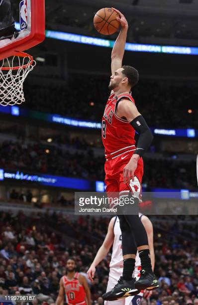 Zach LaVine of the Chicago Bulls dunks against the Washington Wizards at the United Center on January 15 2020 in Chicago Illinois NOTE TO USER User...