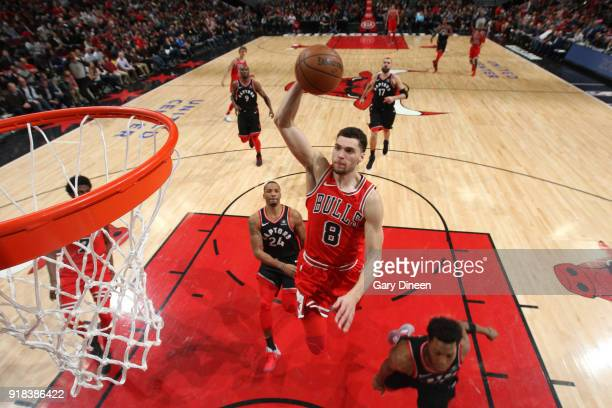 Zach LaVine of the Chicago Bulls dunks the ball against the Toronto Raptors on February 14 2018 at the United Center in Chicago Illinois NOTE TO USER...